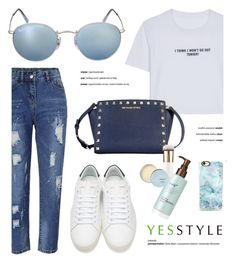 """YESSTYLE.com"" by monmondefou ❤ liked on Polyvore featuring WithChic, Ray-Ban, Yves Saint Laurent, Casetify, Flore, Beauty and yesstyle"