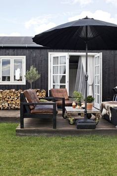Outdoor Living Ein Sommerhaus in Dänemark How far should you bury your roc in the ground? Outdoor Lounge, Outdoor Spaces, Outdoor Living, Outdoor Decor, Outdoor Furniture, Rustic Outdoor, Plywood Furniture, Cheap Furniture, Garden Furniture