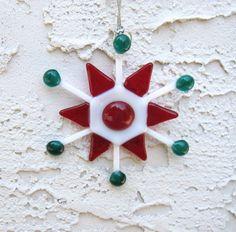 Fused Glass Snowflake  Christmas Ornament SN012 by RockinMosaics, $18.00