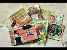 Quick and easy mail art postcards that can also be used as journaling cards. 1) Free printable postcard backs: http://ephemerasvintagegarden.blogspot.com/201...