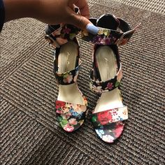 Floral printed heels These are gorgeous however I'm not so good at waking in heels , I've worn them twice for a few hours practically new Anne Michelle Shoes Heels