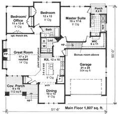 First Floor Plan of Craftsman   House Plan 42622