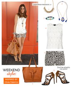 Weekend Style: Leopard shorts, layered necklaces inspired by Olivia Palermo