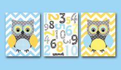 Owl decor Numbers Nursery Numbers Baby Boy Nursery Art Print Nursery wall art kids room Kids Art set of 3 8x10 owl nursery yellow gray blue