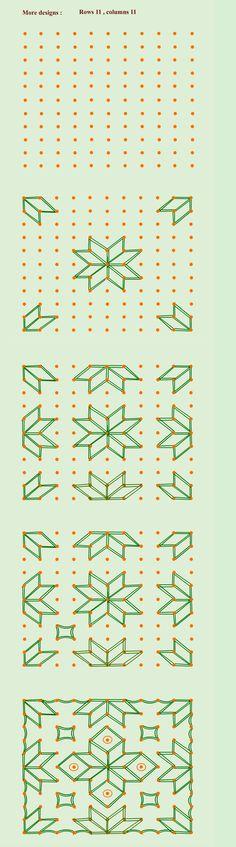 Kolam rangoli pattern designs to draw