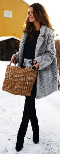 Annette Haga Gray Beaded Knit Coat Fall Streetsyle Inspo