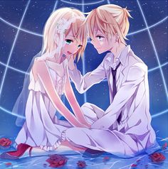 vocaloid Part 23 - - Anime Image Kagamine Rin And Len, Kaito, Hatsune Miku, Anime Couples, Cute Couples, Kagerou Project, Manga Love, Mirror Image, Japanese Culture