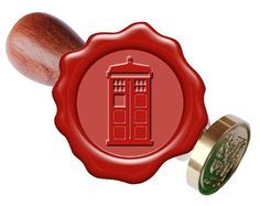 Tardis Police Box Seal Stamp or Box Set with red white gold wax seal stick wax seal spoon and candle
