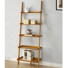 Slanted Bookcase athomemart leaning ladder bookshelf in oak finish PUILPWP - Home Decor Ideas Leaning Ladder Shelf, Ladder Bookshelf, Wall Bookshelves, Bookshelf Design, Wall Shelves, Bookcases, Wood Ladder, Leaning Desk, Cube Bookcase Ikea