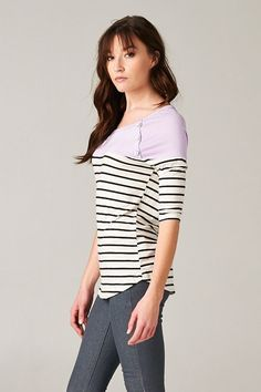 Contrast top with color blocking and stripes. Button detailing. Top. Casual top. Striped top. Contrast top. Clothes. Cute clothes. Outfit.