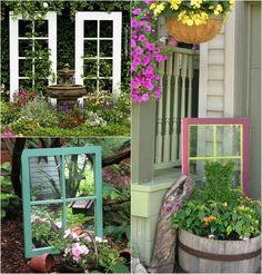idées déco jardin - des treillis originaux en vieilles fenêtres