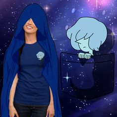 Blue Pearl Pocket Tshirt by Slothgirlart based on the Homeworld Gem from the cartoon Steven Universe. Click on the pic to find links to where it on Redbubble, Society6, and more!