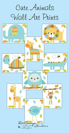 SAFARI NURSERY PRINTS or Decals Wall Art Baby Boy Jungle Woodland Forest Animals Nursery Decor #decampstudios