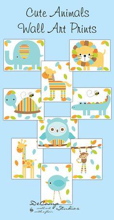 Mod Jungle and Woodland Animals 8x10 Wall Art Prints Decor for baby boy nursery or children's room decor. Choice of an elephant, lion, zebra, turtle, alligator, owl, giraffe, monkey, and bird #decampstudios