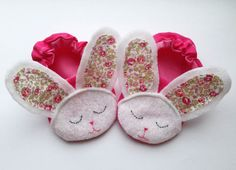 Handmade pink Easter bunny baby booties/ girls by JennyWrenCraft