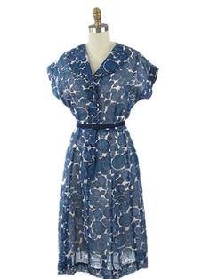 JUST IN! 1950's Semi Sheer Blue Floral Shirtwaist Day Dress #50sdress #shirtwaistdress #bluevelvetvintage