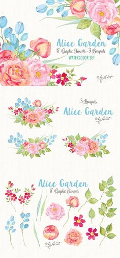 Alice Garden. Wedding Card Templates