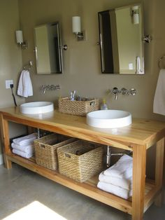Bath Decor Providing Open Towel Shelves Bathroom Ideas On A Budget And Wicker Baskets For Small Bathroom With Untreated Teak Wood Material Double Frameless Mirrors Also Wall Lamps Bathroom Designs, Bathroom Double Vanity Ideas: Bathroom, Furniture, Interior