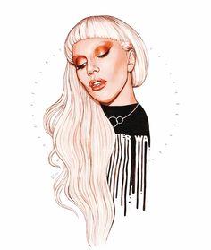 Lady Gaga art by Helen Green