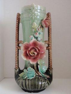 Antique-French-Barbotine-Majolica-Pink-Rose-Vase