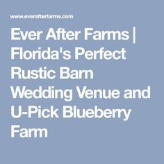 Ever After Farms | Florida's Perfect Rustic Barn Wedding Venue and U-Pick Blueberry Farm