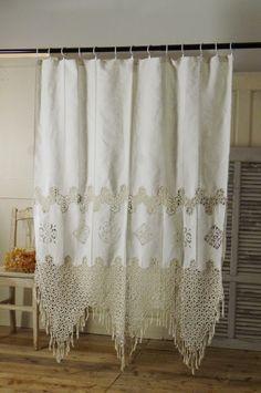 アンティーク クロッシェレースカーテン  French Antique Crochet Lace Curtain