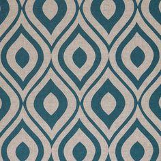 Tissu coton épais plume de paon bleue