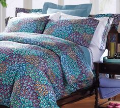 Pavone Cotton Sateen Bedding  from Cuddledown on  Peacock Colors for bedroom - blue purple