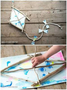 Kid-Made Driftwood Kite. Collect sticks with the kids and make a beautiful painted and beaded kite. Contributed by Make It Your Own.