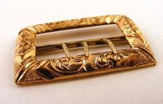 Victorian Belt Buckle Gold Ornate Diamond Cut by Supplize on Etsy