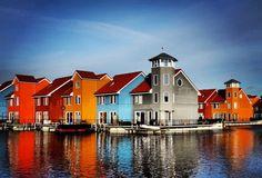 colorful houses, Reitdiephaven, Groningen, Netherlands.