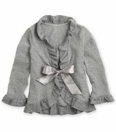 gray heather ruffle cardigan - Chasing Fireflies.   I like the tie on the shirt so it keeps it from being too floppy like the open cardigans tend to be