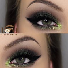 forest #green #smokey eye with black winged eyeliner + lime green inner corner highlight | #makeup with pop of color @landofmakeup
