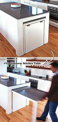 New Kitchen Table Diy Expanding 51 Ideas Hidden Kitchen, Diy Kitchen, Kitchen Decor, Kitchen Ideas, Room Kitchen, Kitchen Furniture, Kitchen Island Storage, Kitchen Island Extendable Table, Home Renovation