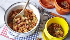 A Cajun-inspired rice pot recipe with spicy Spanish sausage, sweet peppers and tomatoes. This easy chicken and chorizo jambalaya recipe has been triple-tested and nutritionally analysed by our cookery team. Find more one-pot recipes at BBC Good Food. Easy Rice Recipes, Bbc Good Food Recipes, Cooking Recipes, Yummy Food, Chicken Chorizo, Easy Chicken Curry, Sausage Recipes, Meat Recipes, Yummy Recipes