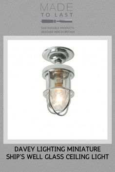 Miniature guarded ceiling light manufactured from brass. A mains voltage feature fitting with a well glass fitted to cover a appliance lamp. Available in polished brass, weathered brass and chrome plated finishes. Modern Flush Ceiling Lights, Glass Ceiling Lights, Glass Fit, Clear Glass, Davey Lighting, Sustainable Design, Chrome Plating, Polished Brass, Appliance