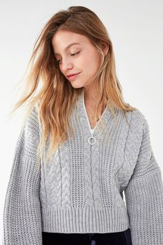 UO Cable Knit Half-Zip Sweater  2e28820a36