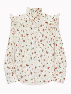 BLISS AND MISCHIEF - Rose Ruffle Neck Blouse in Ditsy Rose