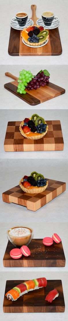 Make any party appetizers and dessert stand out when displayed on a handcrafted end grain cutting board! These boards not only serve a purpose, but also provide a animated eye-catching piece of décor for your home. End Grain Cutting Board, Wood Cutting Boards, Chef House, Dessert Stand, Wine Time, Bespoke Furniture, Appetizers For Party, Party Planning, Kitchen Design