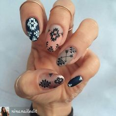 By #ninanailedit #aztecnailart #aztecnails #aztecprint #tribalnails #tribalprint #coolnailart #nailartpics #nailsandpolish #nailart#nails