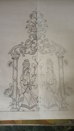 Zardozi Embroidery, Hand Embroidery Patterns, Embroidery Art, Embroidery Stitches, Dress Design Sketches, Art Sketches, Saree Painting Designs, Pencil Design, Indian Art Paintings