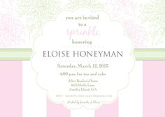 Chrysanthemum Pink and Mint Green Sip and See, Baby Shower, Sprinkle or Birthday Tea Party Invitation- Print Your Own. $15.00, via Etsy.
