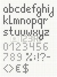 Punto de cruz Inglés alfabeto con números y símbolos. Minúsculas