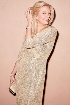 What a way to make an entrance! Turn heads in this light-catching sequin sheath dress with a curve-hugging wrap front that cascades into a complimentary twist detail | #holidaydress #sequindress #holidaypartydress #newyearsevedress | Style 8196646 | Shop this style and more at davidsbridal.com Gold Dress, Sequin Dress, Sexy Cocktail Dress, Cocktail Dresses, New Years Eve Dresses, Wrap Front Dress, Mother Of The Bride Gown, Holiday Party Dresses, Big Girl Fashion