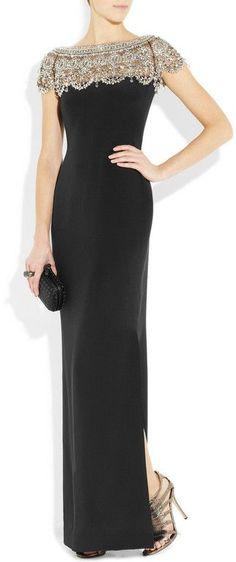 Curating Fashion & Style: Women's fashion   Elegant black gown, sparkling heels, black clutch