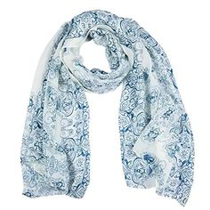 Chinoiserie Silk Chiffon Voile Printing Scarves Scarf (White). Size:(approx)63*27.6inch/160*70cm. Long and trendy style with flower prints and ink pattern. A scarf,a variety of uses,follow your mood,show your style. Suitable for almost every season with its good texture. Great as gifts for girls and ladies. This women's scarves floral shawl is easy to match.