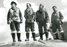 S/L Otmar Kučera (first left) poses for a publicity shot with pilots of No 313 Squadron RAF on the wing of Spitfire HF Mk IXc at RAF North Weald in 1944. The 30-year-old Czech took command of the squadron on 15 November, with 5 and 2 shared destroyed, 1 probably destroyed and 1 damaged.