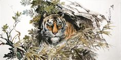 (North Korea) Tiger by Gang Hak cheol (1974-   ). Korean brush watercolor.