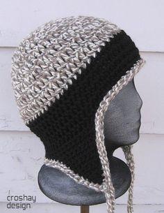 Crochet Beanie Design free crochet hat pattern with ear flaps for men Crochet Adult Hat, Mode Crochet, Crochet Beanie, Knit Or Crochet, Crochet Crafts, Crochet Baby, Crochet Projects, Crocheted Hats, Crochet Gloves
