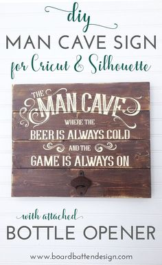 This distressed Man Cave wood sign is made with pine boards, a cast iron bottle opener and a stencil cut with your Silhouette or Cricut cutting machine. Using the PVPP method for stenciling, it makes a great gift for Father's Day, husband's birthday, or just because. It looks fancy but comes together quickly for a gift that will not only look awesome but will be useful as well.